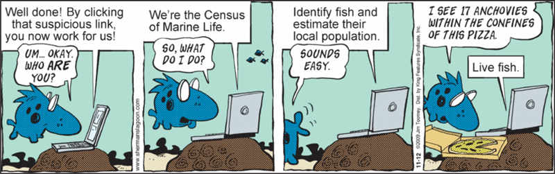 Comic strip from 12 November 2009, referring to efforts to conduct a census of marine life, by Jim Toomey.