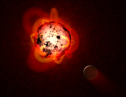 Flaring red dwarf star and exoplanet