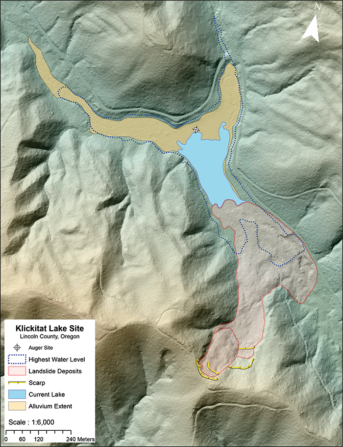Lidar data identify the origin of landscape features in this map of the landslide-dammed Klickitat Lake in Oregon.