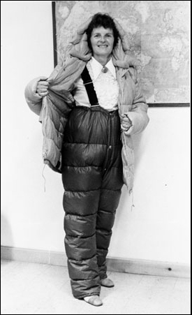 Ursula Marvin displays her Antarctic gear before the 1978 meteorite hunt.
