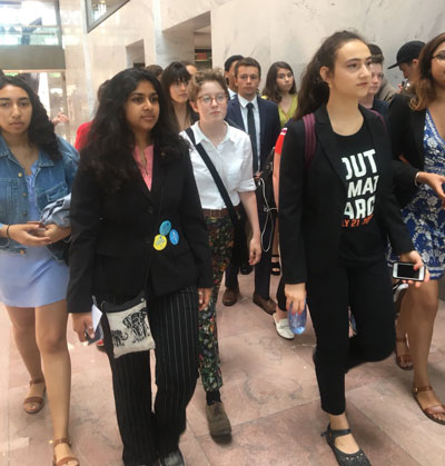 (left) Nada Nazar and (right) Jaime Margolin, on their way to the D.C. office Kamala Harris (D-Ca.) on 19 July