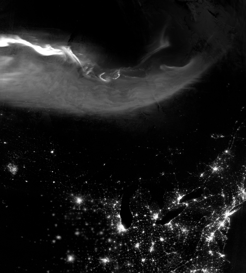 Aurora borealis over nighttime North America