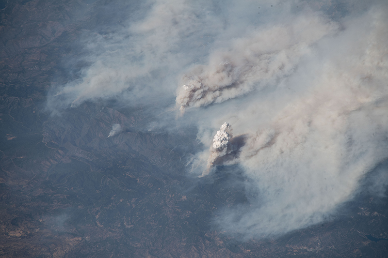 A view of California wildfire smoke seen from the Space Station