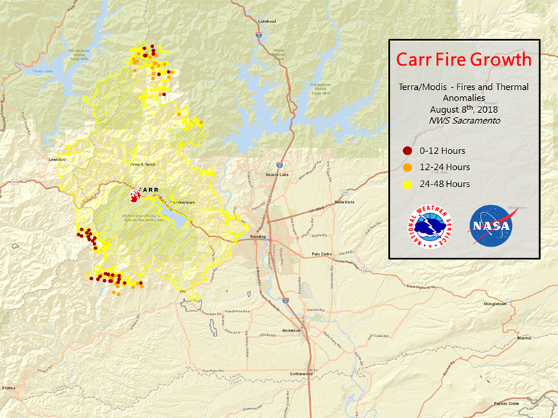 Fire growth map of the California Carr Fire