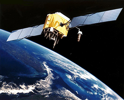 Artist's impression of a GPS Block IIF satellite, one of the newest GPS satellites in orbit.