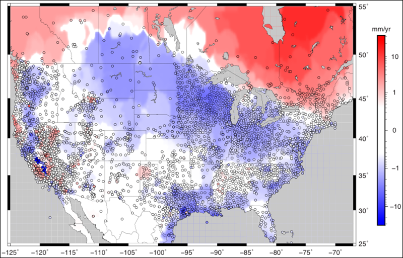 GPS stations and observed rate of vertical displacement of continental North America.