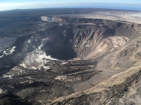 A view of Kīlauea's summit on 6 August. The crater is now quiet; the last significant seismic event occurred on 2 August.