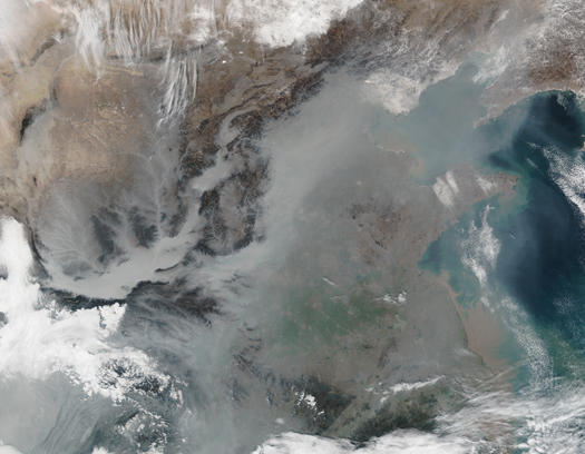 Haze over eastern China as seen by satellite