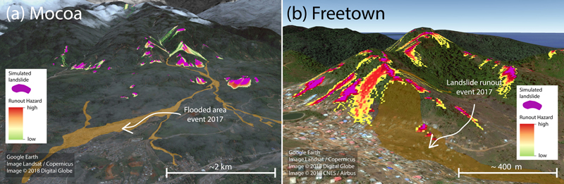 STEP-TRAMM simulations of landslide soil mass releases and debris flow runout