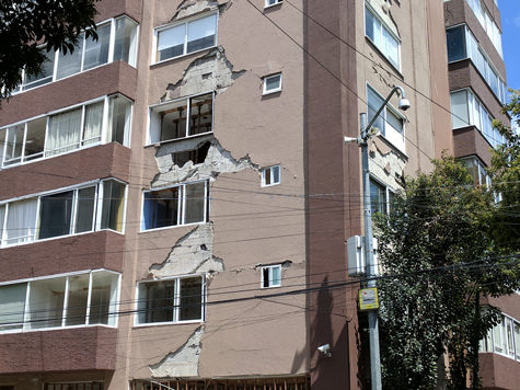 This apartment building in Mexico City was damaged during the M7.1 Puebla earthquake on 19 September 2017.