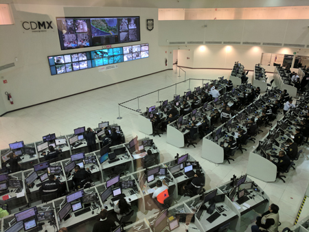 Mexico City's emergency operations center broadcasts earthquake early warnings to pole-mounted speakers across the city.
