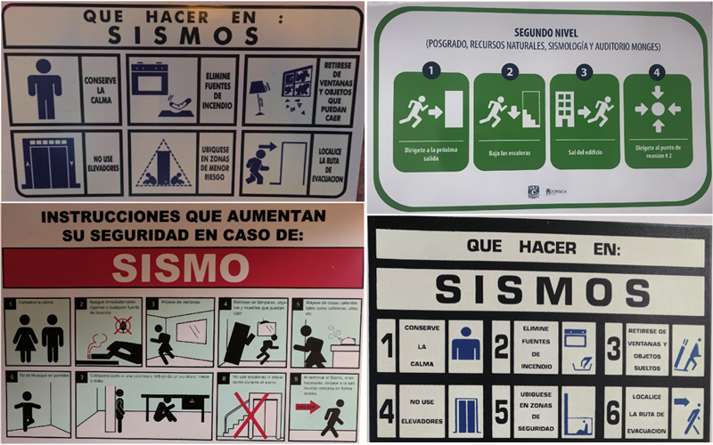 Emergency placards from buildings in Mexico City provide suggestions for taking protective actions during an earthquake.