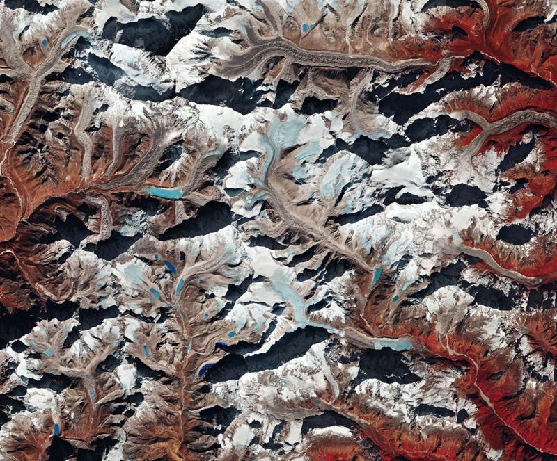 Mount Makalu and surrounding mountains in the Himalaya