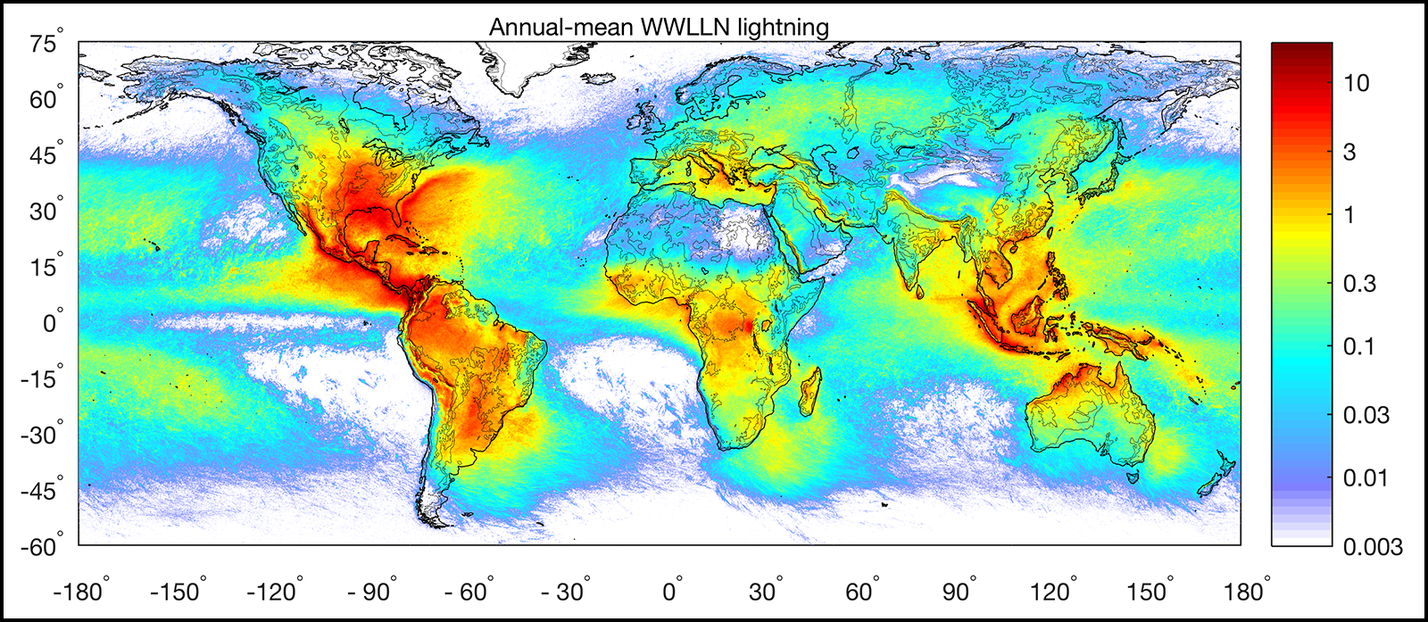 Number of lightning strokes accumulated for the years 2008–2017