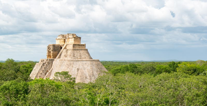 The Pyramid of the Magician, in the ruins of the ancient Maya city of Uxmal.