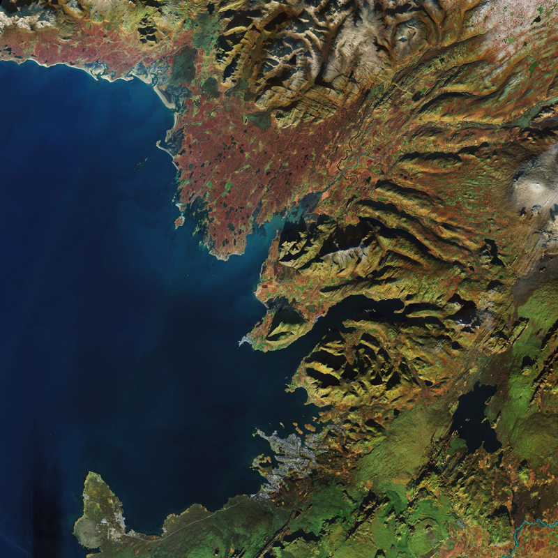 Mountains, glaciers, and kettle holes near Reykjavík, Iceland