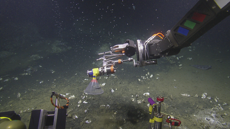 A remotely operated vehicle samples methane bubbles off the coast of Oregon in June 2018.