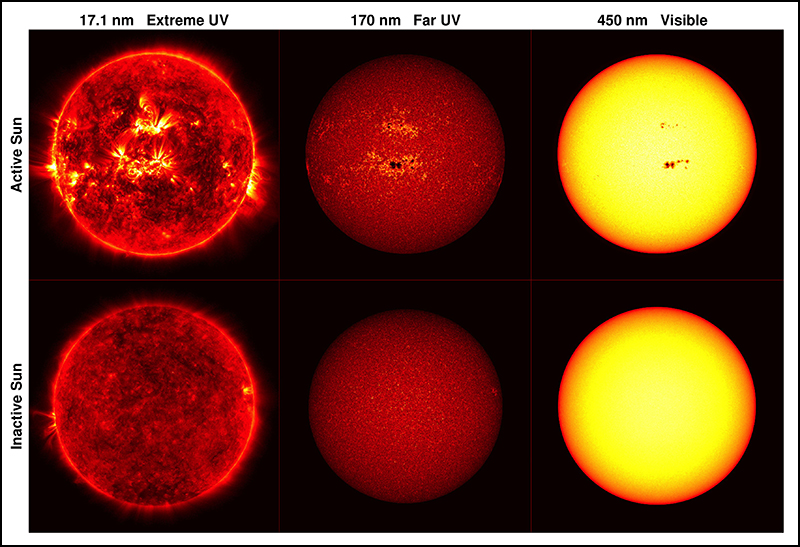 NASA's Solar Dynamics Observatory satellite took these images of the Sun at three different wavelengths.