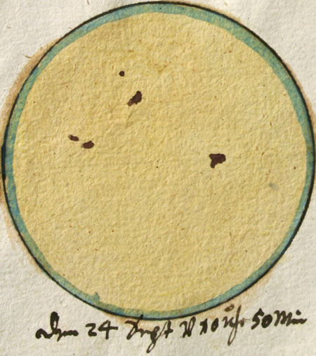 Sunspot drawing made by J. C. Staudach on 24 September 1762.