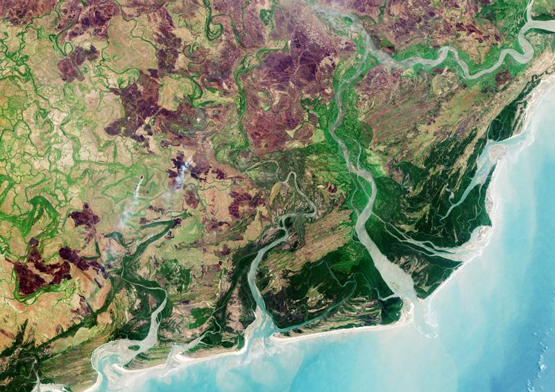The Zambezi River delta off the Mozambique coast