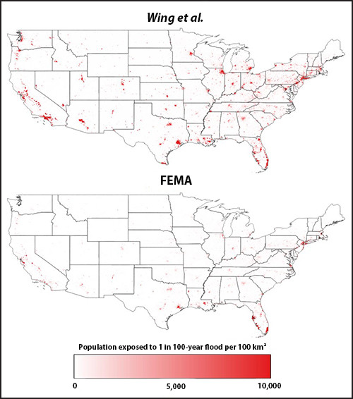 (top) A new approach shows that 3 times more Americans are exposed to a 1-in-100-year flood than (bottom) FEMA's estimate.