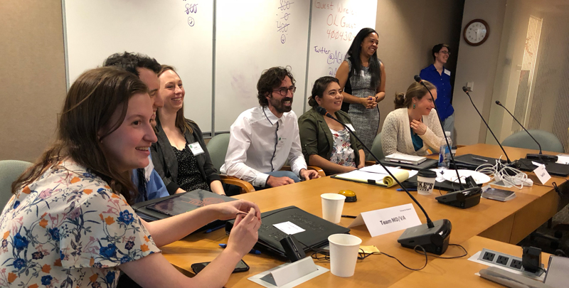 Meredith Schervish and other AGU Voices for Science volunteers at April 2018 workshop.