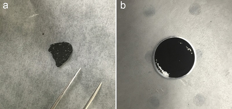 The new study compared mid-infrared spectra from a chip from the Tagish Lake meteoroid (right) whole and (left )ground-up to spectra collected from Phobos by the Mars Global Explorer spacecraft in 1998.