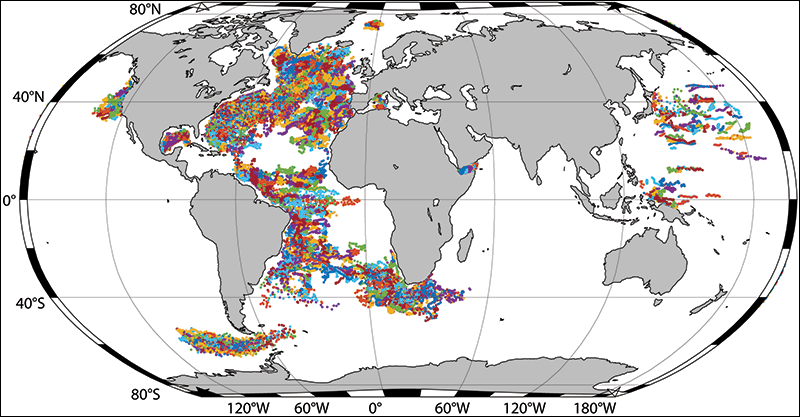 All acoustically tracked float trajectories in the AOML database as of May 2018.