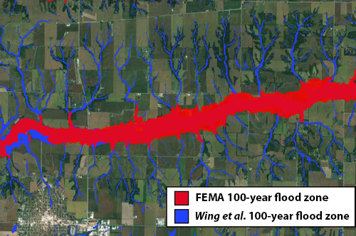 Flood map in Illinois shows FEMA's tendency to focus on larger rivers, missing flood risks associated with smaller streams.