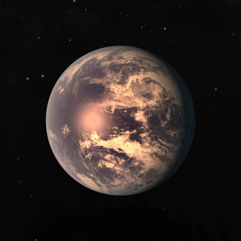 An artist's impression of TRAPPIST-1e, an exoplanet that may contain liquid water.