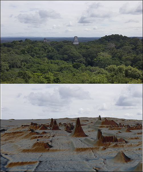 Maya's Tikal seen from above the trees, coupled with a lidar image of the same view with the vegetation stripped away.
