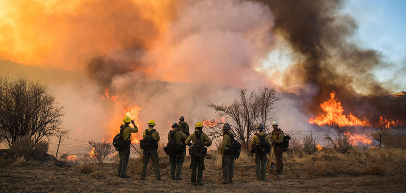 Firefighters stand at the edge of a wildfire.