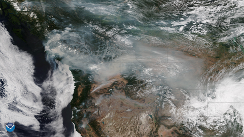 Thick plumes of smoke over British Columbia.