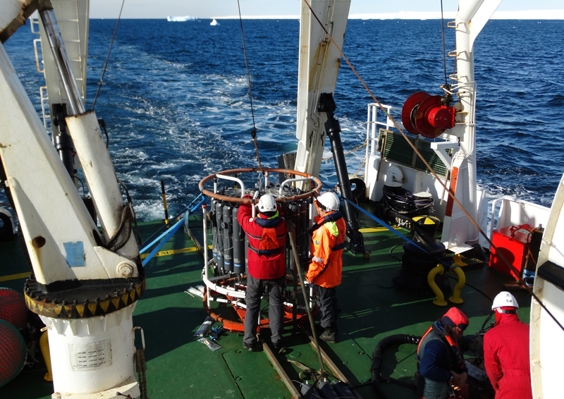 Technicians on the OGS Explora prepare and calibrate different oceanographic and geophysical tools.