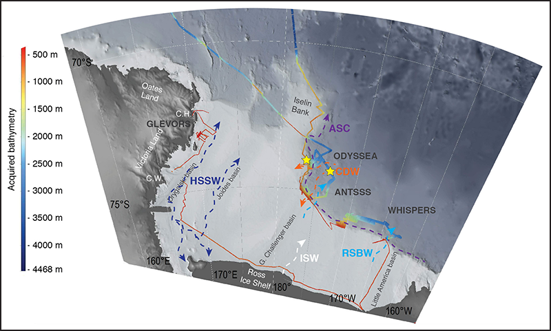2017 OGS Explora survey, showing the main water masses that form and mix in the Ross Sea along with other locations of note.
