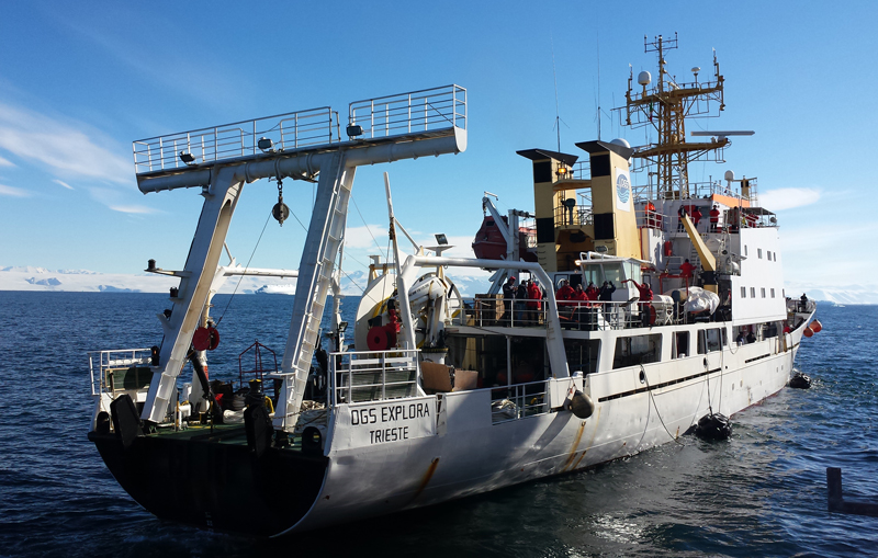 OGS Explora, sailing near Cape Washington during its 2017 expedition to the Ross Sea.
