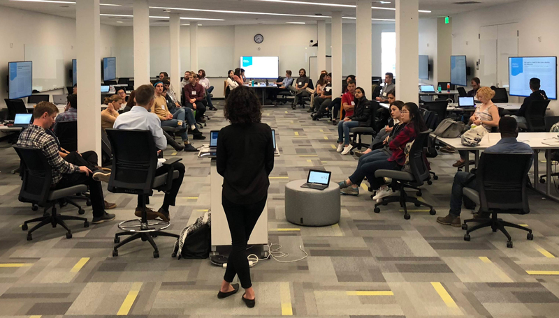Speaker delivers opening remarks at the 2018 Geohackweek