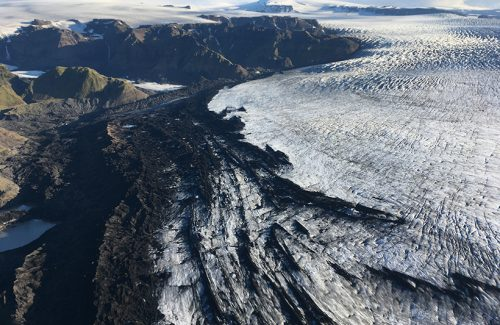 An aerial view of the massive Katla glacier, which might be a bigger source of CO2 than previously estimated