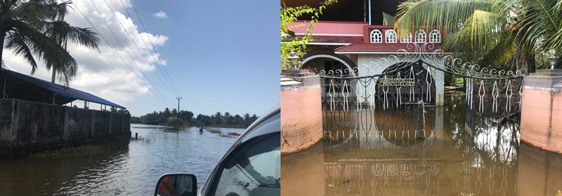 (left) Flooding in the streets and (right) a home in the Alappuzha District of Kerala, India.
