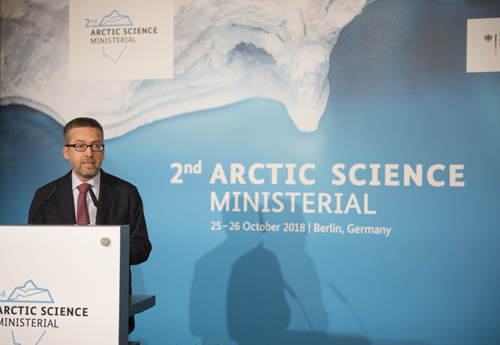 Carlos Moedas of the European Commission speaks at the Arctic Science Ministerial meeting on 26 October.