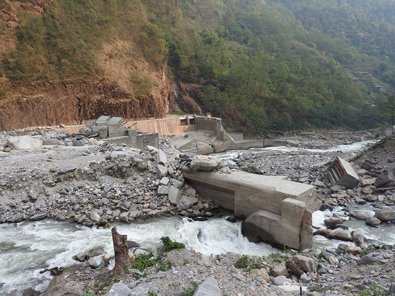 Nepal's Upper Bhote Koshi Hydroelectric Project intake dam, damaged by a July 2016 glacial lake outburst flood