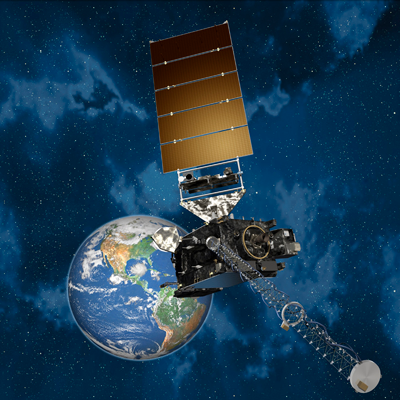 Weather satellite GOES-16 observes Earth from geostationary orbit.