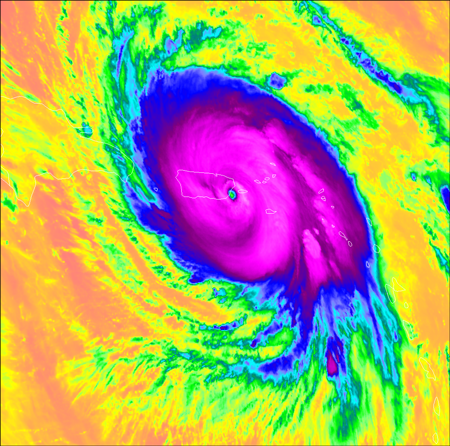 Hurricane Maria over Puerto Rico in 2017, as seen by the GOES-16 weather satellite's ABI imager.
