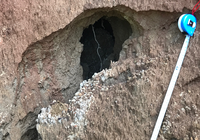 Large sub-surface hole in a landslide photographed on 7 September 2018 in India.