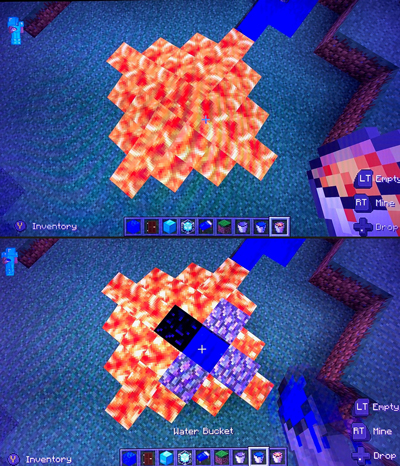 In Minecraft, lava and water interact to help students learn about Earth and geoscience.