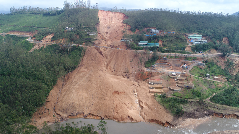 A massive landslide at Government College in Munnar, India.