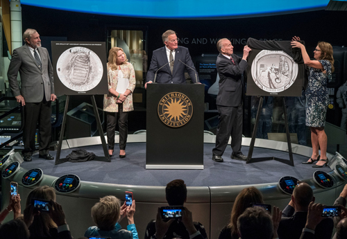 A snapshot from the unveiling ceremony for the design of the Apollo 11 50th Anniversary Commemorative Coin Program.