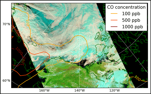 Pollution plume from Siberia mixing with clouds in the Arctic in July 2012.