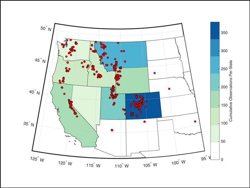 A map shows snow measurements in the western United States