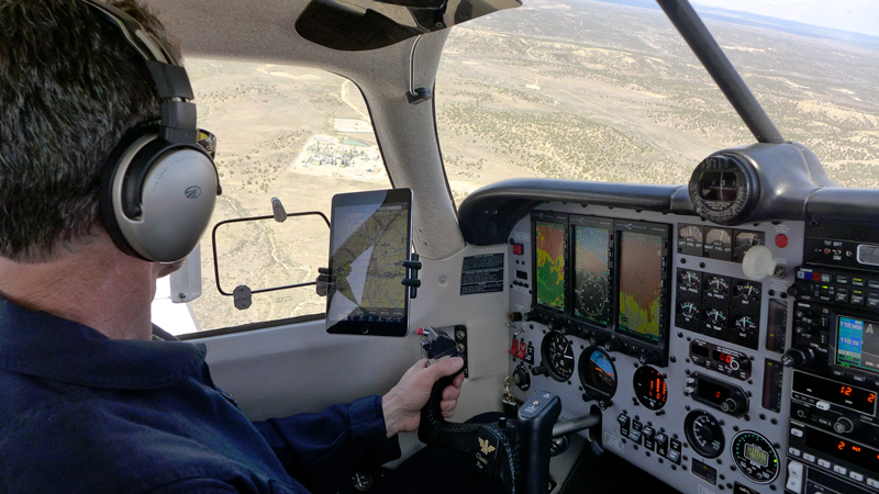 A view from the cockpit of a Scientific Aviation flight over the Four Corners region of the San Juan Basin.
